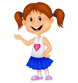 Cute girl cartoon presenting vector image vector image