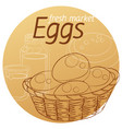 eggs basket hand drawn linear vector image vector image