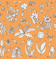 Flowers seamless pattern collection set on orange