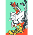 Funny hand drawn cock standing with arms akimbo vector image