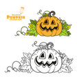 funny lantern from pumpkin with cut out vector image vector image