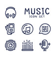 hand drawn cartoon set music audio related vector image vector image