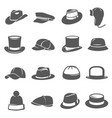 hat icon set traditional head wear accessory vector image