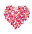 heart shape pink confetti splash vector image vector image