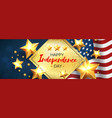 independence day greeting banner with golden stars vector image vector image
