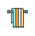 large bath towel on holder flat color line icon vector image vector image