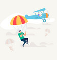 man jumped from airplane with parachute skydiving vector image vector image