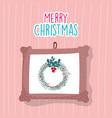 merry christmas celebration hanging frame wreath vector image