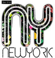 new york flower graphic tee design vector image vector image