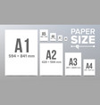 paper sizes paper size standards isolated vector image