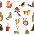 raccoon and wolf fox and owl bird wearing scarf vector image vector image