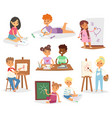 school kids children making art creative young vector image
