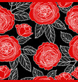 seamless pattern with graphic red roses vector image vector image