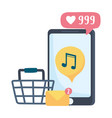 smartphone music shop and email social network vector image vector image