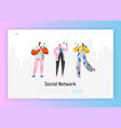 Social network landing page template characters