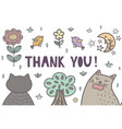 thank you banner with a cute cats vector image vector image