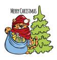 tiger christmas santa claus with gifts vector image