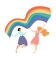 two cute girls with lgbt flag vector image vector image