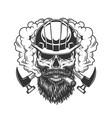 vintage monochrome builder skull in smoke vector image vector image