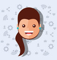 woman face with social media networks icons vector image vector image