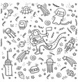 astronaut doodle set space objects and symbols vector image vector image