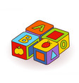 baby s letter cubes toys wooden alphabet cubes vector image