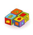 bas letter cubes toys wooden alphabet cubes vector image