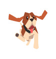 beagle dog running cute funny animal cartoon vector image