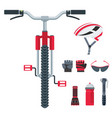 bicycle equipment icons set of objects for vector image