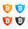 bitcoin shield secure symbol icons set vector image vector image