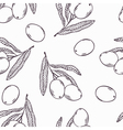 Branches of olives outline seamless pattern Doodle vector image