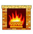 brick fireplace icon vector image