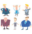 businessmen cartoon characters set vector image vector image