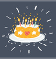 cartoon cake with candles vector image vector image