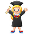 cartoon graduate girl with diploma vector image
