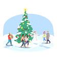 city christmas tree flat cartoon people vector image