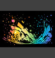 colorful splash abstract on black vector image vector image