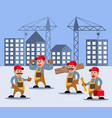 construction worker character set vector image vector image