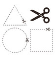 cut line with scissors here symbol vector image