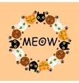 Cute cats faces colorful pattern background vector image vector image
