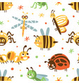 cute insects seamless pattern fabric wallpaper vector image