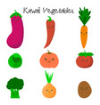 cute kawaii smiling vegetables vector image