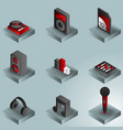 dj color gradient isometric icons vector image