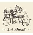 Drawn happy bride groom bicycle sketch vector image vector image