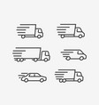 fast delivery truck icon set transport vector image vector image