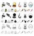 fishing and rest cartoon icons in set collection vector image vector image