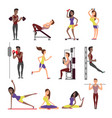 fitness people cartoon characters set male vector image vector image