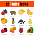 Flat design fruit icon set vector image vector image