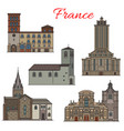 french architecture travel landmark thin line icon vector image vector image