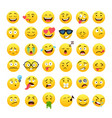funny yellow round emoji icons set vector image vector image